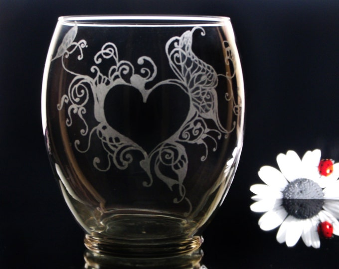 abstract heart and butterfly hand engraved vase