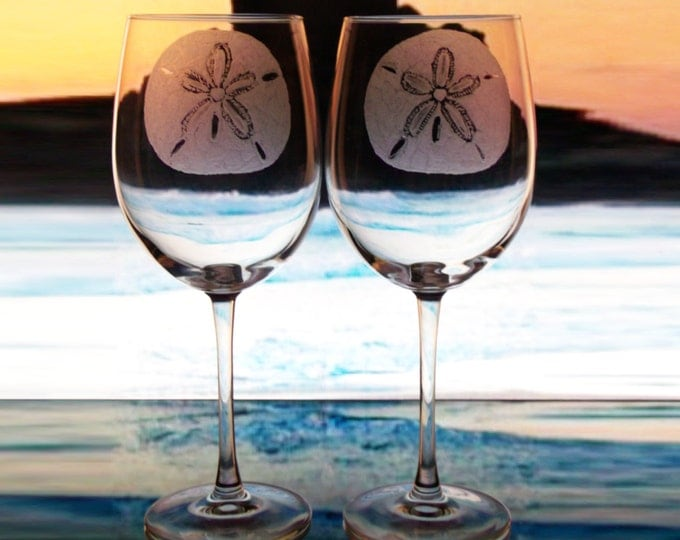beach house wine glass set summer glassware beach wedding  tasting wine glass hand engraved