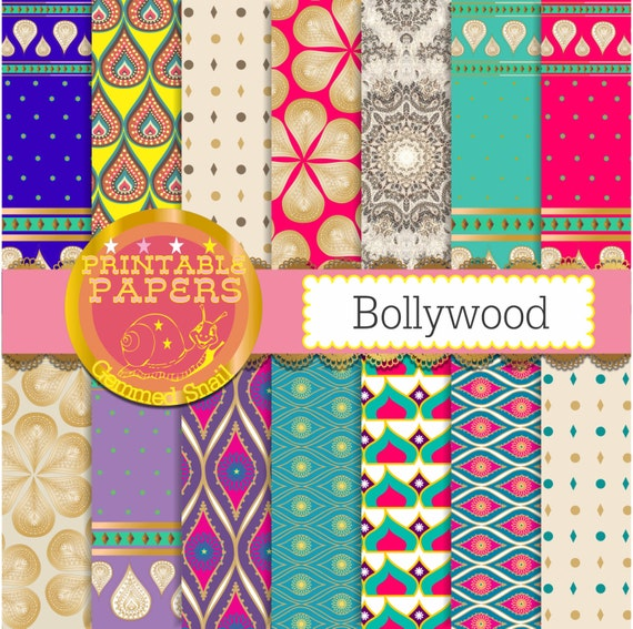 Sari digital paper 14 'Bollywood backgrounds boho by ...