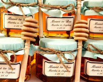 12 Honey Favors with Wooden Honey Dippers and Labels