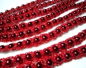 Crocheted Bead Christmas Tree Garland with Red Beads and Red Cotton with Gold Flecks - Red and Gold Christmas Garland