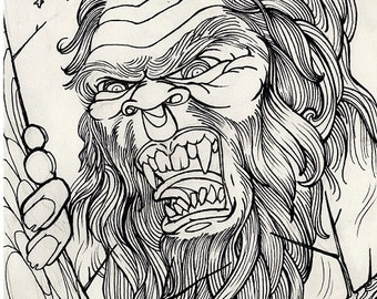 sasquatch, bigfoot, cryptid, cryptozoology,  horror art, coloring book page