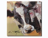 Western cow portrait Original oil Painting  on canvas panel 15CMX15CM