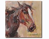 "Western HORSE  portrait Original Oil Panel Painting 6x6"""