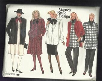 Vintage 1986 Vogue 1261 Strong Shoulder Maternity Blouse Dress Shawl Collar Jacket Straight Skirt & Pants Sizes 12-14-16