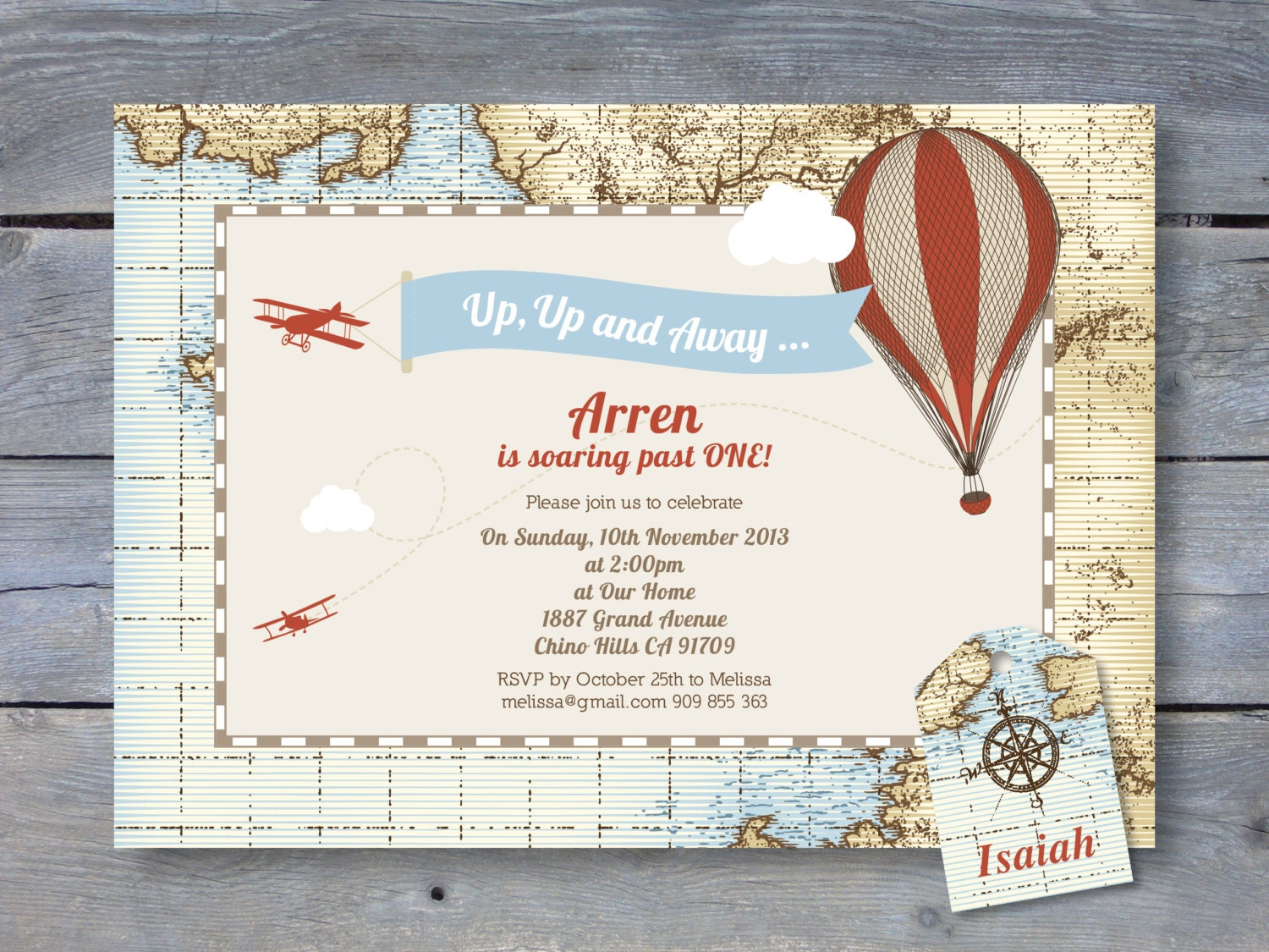 VINTAGE Hot Air Balloon Invitation for Birthday Party 7x5