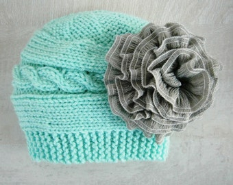 READY TO SHIP Baby Girl Hat - Baby Girl Knit Hat - Knit Newborn Hat - Baby Winter Hat