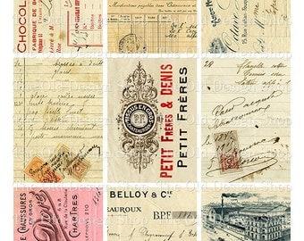 ATC Backgrounds Vintage French Ephemera Cards Set 1 Printable Digital Collage Sheet