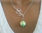 NEW Freshwater Sea Green Coin Pearl Lariat Necklace