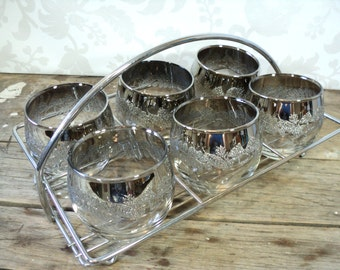 Silver Ombre Roly Poly Lowball Glasses & Chrome Caddy, 1960's, Six embossed low ball tumblers
