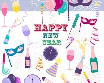 New year clipart, New Years, New Years eve clipart, Instant download, new year clipart