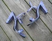 SALE- MIXIT vintage size 5 purple vegan snakeskin sandal heels