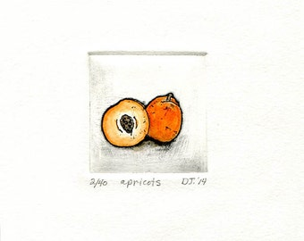apricots etching mini print