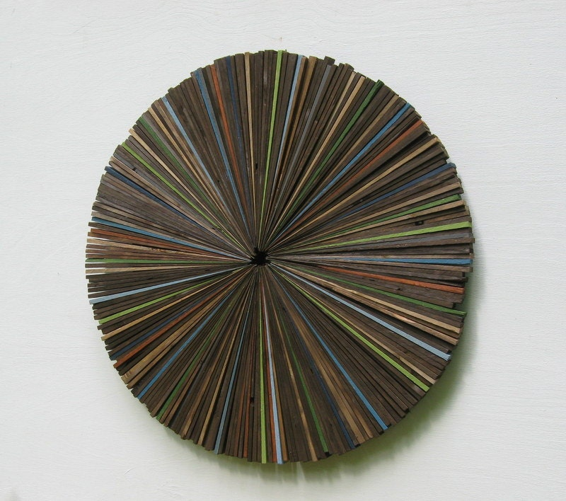 Modern wood wall art rustic sculpture round circle abstract - Modern rustic wall decor ...