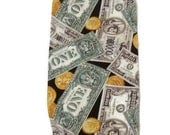 Dispenser - Holder for Plastic Bags Featuring Money - in bills and coins in a Cotton Print Fabric