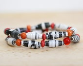 Recycled Paper Bead Bracelet, Made With Recycled Book Pages, Red Bracelet, Black and White, Teacher Gift, Librarian Gift, Book Lover