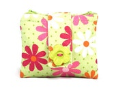 Small Wallet Double Sided Pouch Inner Purse Accessory Holder Two-sided Flowered Coin Purse Green Pink Orange White
