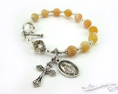 Yellow catholic bracelet rosary, agate rosary, confirmation rosary, single decade rosary, communion gift, miraculous medal yellow rosary