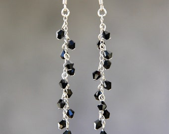 Black Crystal clear dangling linear earrings Bridesmaid gifts Free US Shipping handmade Anni designs