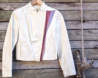 1980's 'Special Mode' White Leather Cropped Jacket with Maroon and Purple Stripe