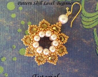 Earrings beading tutorial beadweaving pattern beaded seed bead jewelry beadwoven beadwork instructions - CLASSIC ELEGANCE