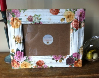 Rustic Shabby Chic Picture Frame Victorian Rose MADE TO ORDER
