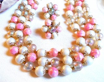 ON CLEARANCE: Japan Triple Strand Pink and White Necklace and Earring Set Vintage Signed