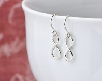 Infinity Earrings, Infinity Dangle, Infinity Jewelry, Dangle Earrings, Handmade Infinity, Silver Earrings, Gift for Her, Gift Under 20