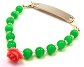 Green and Peach Rose Interchangeable Stretchy Medical Bracelet Attachment