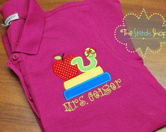 Ladie's Polo Teacher Applique Shirt