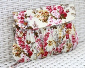 Valentine Gift for her, Spring Floral Clutch, Gathered cotton clutch, Pink and white