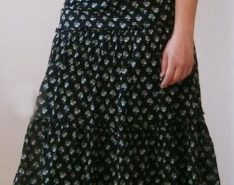Black Skirt /Knee Floral Cotton Skirt / Summer Gipsy Skirt / Cotton Gipsy Skirt