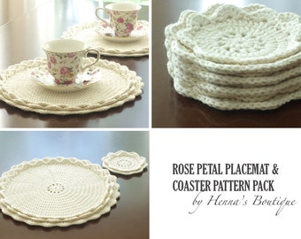 Crochet Pattern Pack - Rose Petal Placemats and Coasters - PDF