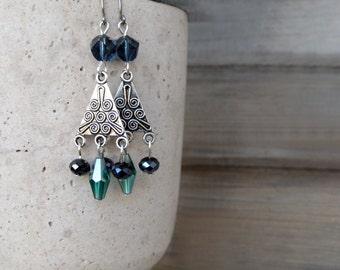 Chandelier Dangle Earrings,Blue And Green Earrings,Crystal Earrings