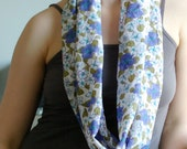 Floral Infinity Scarf - Spring  Scarf - by LimeGreenLemon