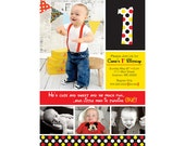 Disney Inspired Polka Dots 1st Birthday Invitation (Mickey/Minnie) - Digital File