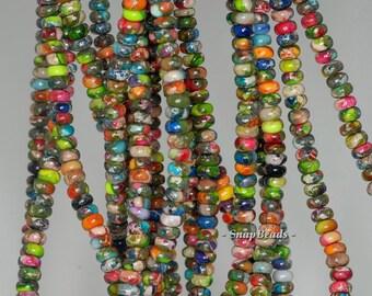 4x2mm Rainbow Imperial Jasper Gemstone Grade AA Rondelle 4x2mm Loose Beads 16 inch Full Strand (90188784-80)