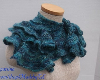 Clearance. Wavy Scarf, Hand Knit Mohair Scarf, Knit Women Scarf