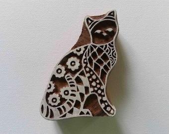 Cat Stamp Indian Wood Block - Hand Carved Stamp #2 Medium