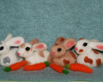 Needle Felted Wild Spotted Bunny 1 of Your Choice of Colors Easter