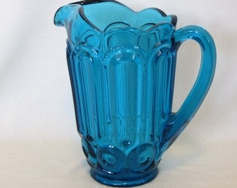 L E Smith Blue Moon And Stars Water Pitcher
