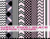 Pink and Black clip art chevron frames digital paper clipart, Chevron clipart pink and black digital paper set : p0218 3s3749 IP
