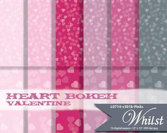 Valentine digital paper pink bokeh heart texture background printables : L0714 v301 Pinks