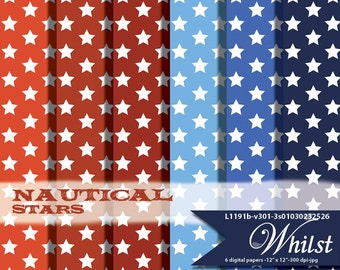 Star paper digital, paper nautical backgrounds red blues for digital printables invitation graphics: L1191 v301 nautical