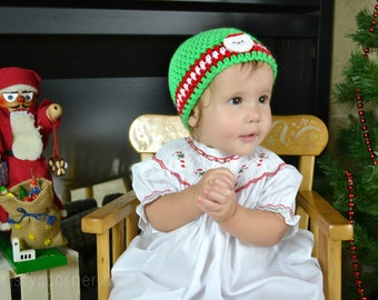 Christmas Crochet Hat, Red Green Baby Girl Beanie, Infant Baby Girl Beanie, Newborn Girl Hat, Photography Prop
