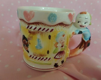 Child's Vintage Ceramic Mug -- Rare -- Punch & Judy