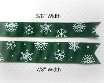 "Green Christmas Ribbon. Snowflake Ribbon. Grosgrain Christmas Ribbon. 5/8"" and 7/8"" Width. 3 Yards of EACH Width."
