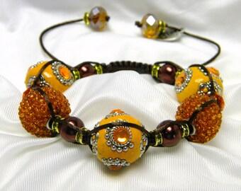 Tangerine Brown Braided Bracelet