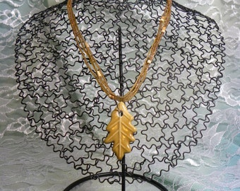 Necklace: Brown Toffee Colored Autumn Leaf Pendant on a Matching Cord and Beaded Necklace