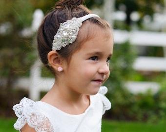 White or ivory flower girl's headband for first communion and flower girl